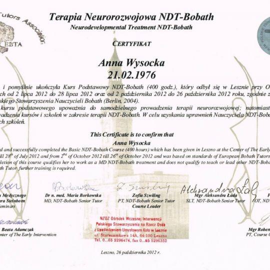 certyfikat - terapia neurorozwojowa NDT-Bobath - Anna Wysocka